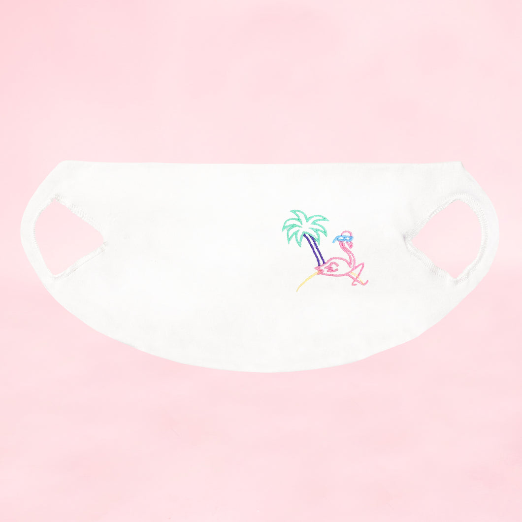 🦩 Retro Flamingo White washable face mask - Unisex | Glow in the dark