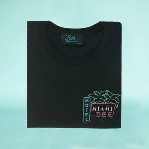 🌴 MIAMI INN MOTEL Black T-Shirt – Kid – Unisex | Glow in the dark