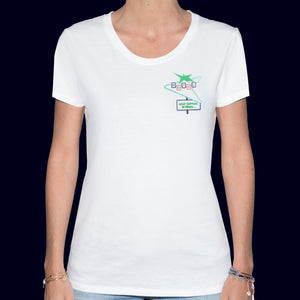 🏩 MOTEL What Happens in Vegas... White T-Shirt - Woman | Glows in the dark