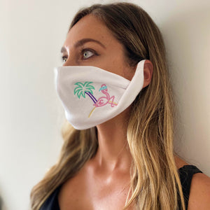 Retro Flamingo White washable face mask - Unisex | Glow in the dark