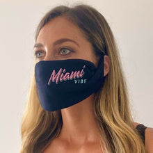 Load image into Gallery viewer, Miami VIBE Black washable face mask - Unisex | Glow in the dark