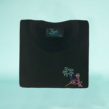 Load image into Gallery viewer, 🦩 Retro Flamingo Black T-Shirt – Kid - Unisex | Glows in the dark