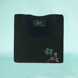 🦩 Retro Flamingo Black T-Shirt – Kid - Unisex | Glows in the dark