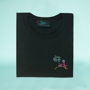 Retro Flamingo Black T-Shirt - Man - Unisex | Glow in the dark