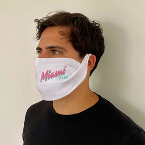 🕶️ Miami VIBE White washable face mask - Unisex | Glow in the dark