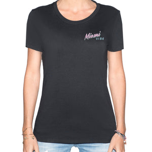🕶️ Miami VIBE Black T-Shirt - Woman | Glows in the dark