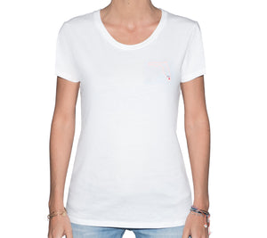 🏖️ Mia FL state White T-Shirt - Woman | Glow in the dark