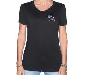 🦩 Retro Flamingo Black T-Shirt - Woman | Glows in the dark