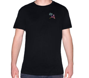 🦩 Retro Flamingo Black T-Shirt - Man - Unisex | Glow in the dark