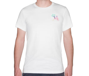 Retro Flamingo White T-Shirt - Man - Unisex | Glow in the dark