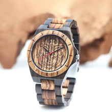 Load image into Gallery viewer, zebrawood  and blackwood wooden watch