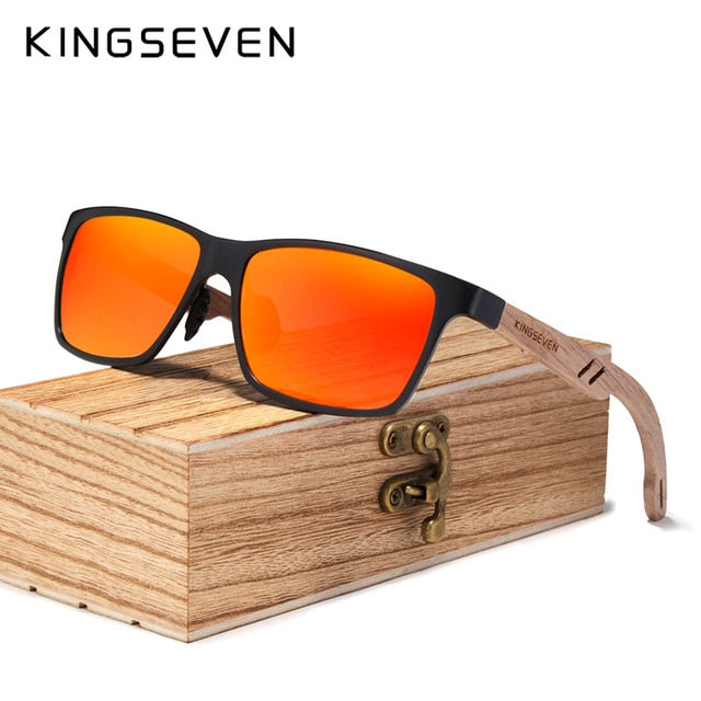 Kingseven Polarized Square Wooden Sunglasses