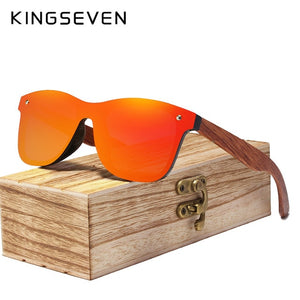 Kingseven Rimless Wooden Sunglasses