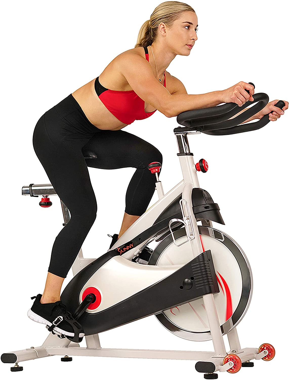 Sunny Health Indoor Cycling Exercise Bike with Chrome Flywheel