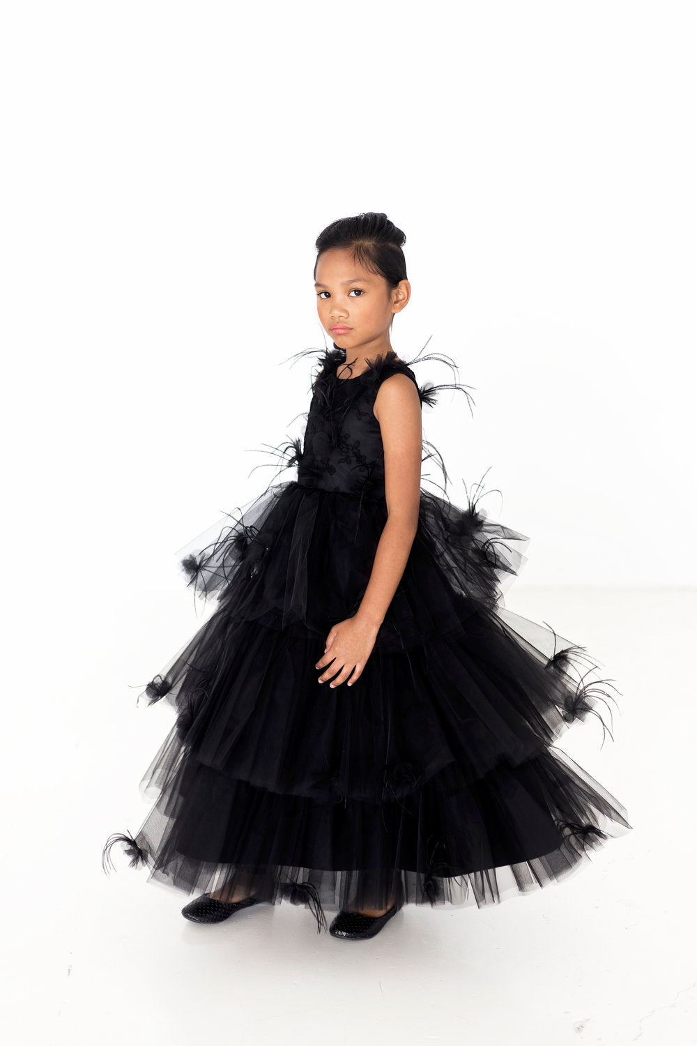 Lace & Feathers Black Dress