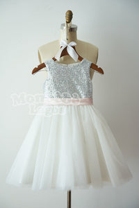 Keyhole Silver Sequin Dress