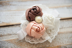 Double Flower Headband with Pearl