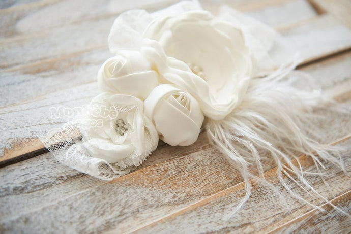 White Flower Headband with Pearls