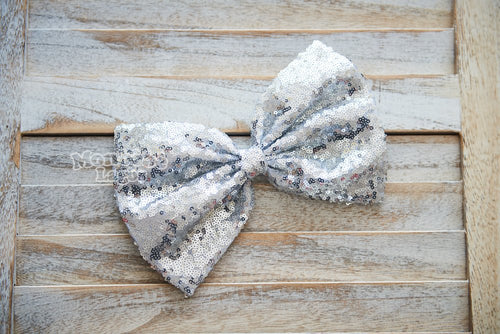 Silver Sequins Bow