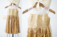 Load image into Gallery viewer, Sheer Neckline Gold Sequin Dress