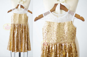 Sheer Neckline Gold Sequin Dress