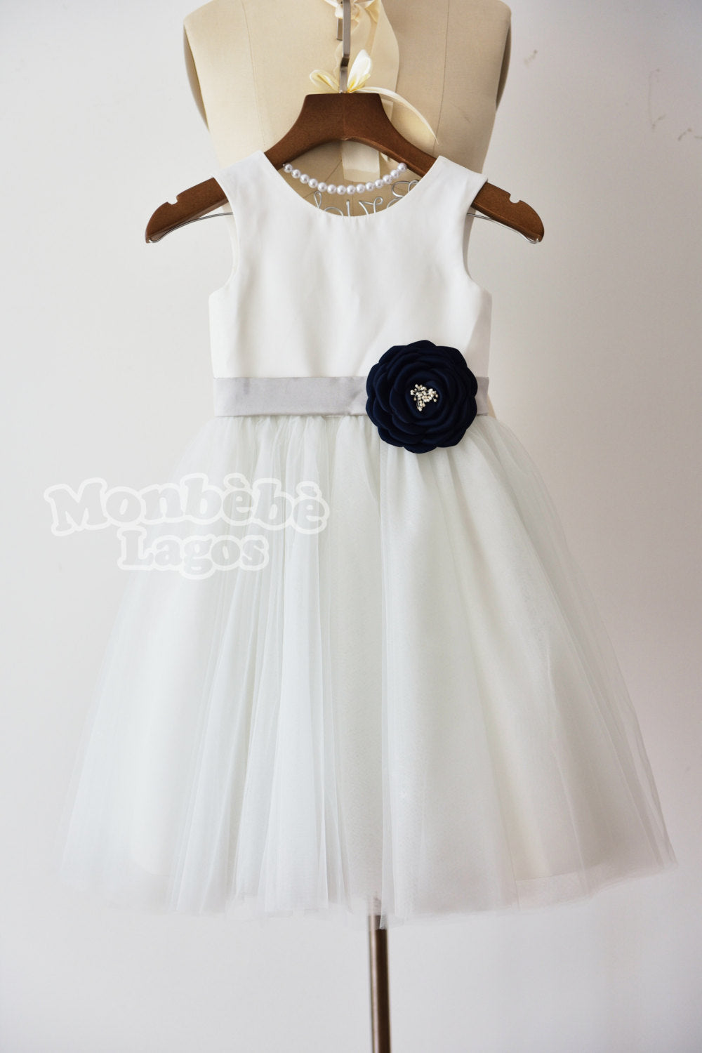 Ivory Tulle Dress with Navy Blue Flower
