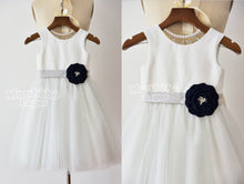 Load image into Gallery viewer, Ivory Tulle Dress with Navy Blue Flower