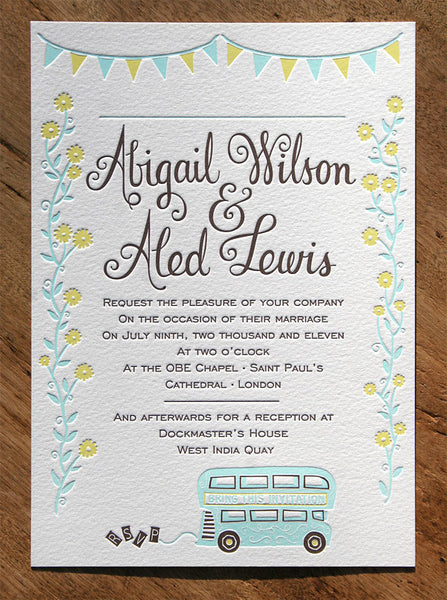 Abigail & Aled letterpress wedding invitation