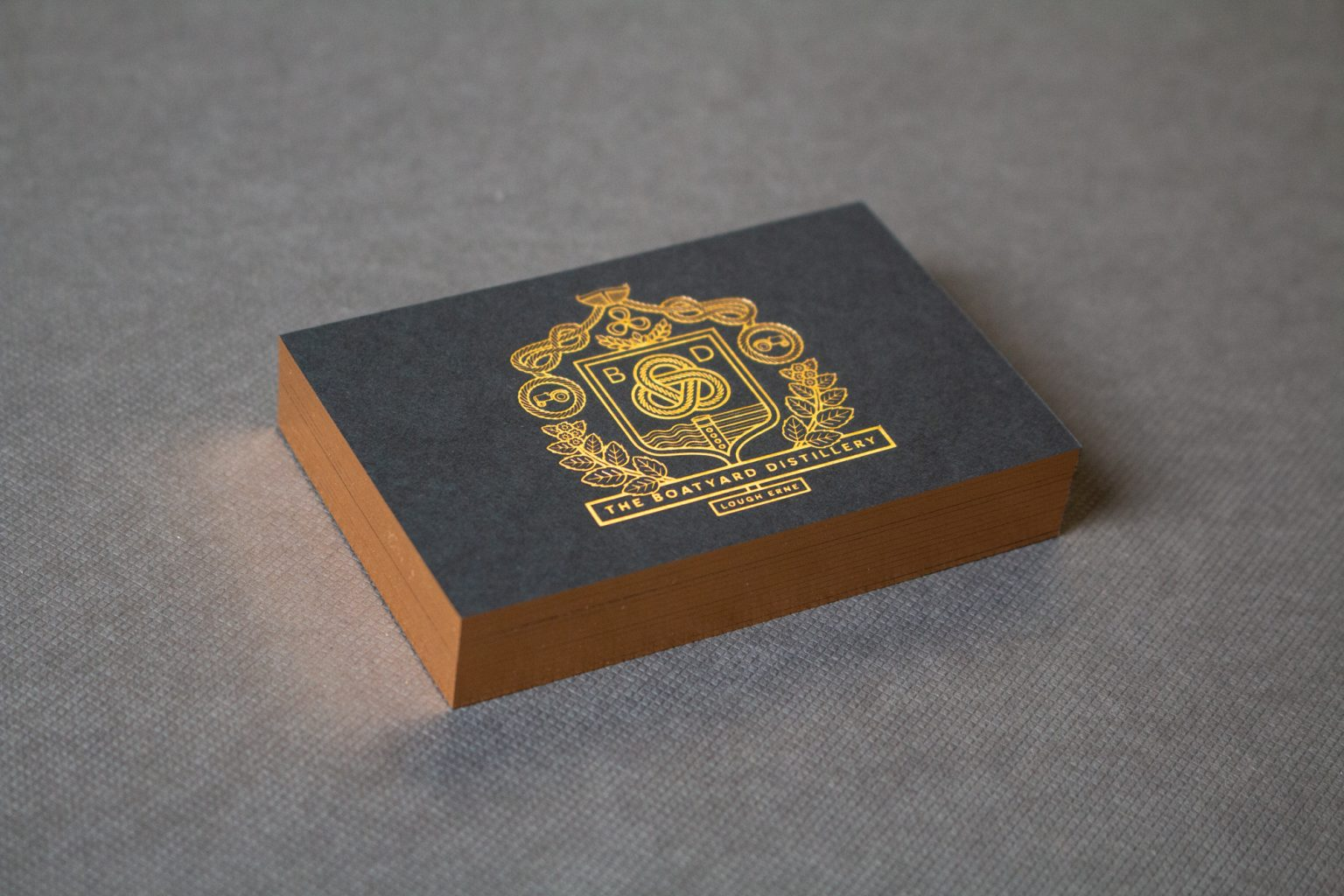 Boatyard hot foil and edge foiled business cards