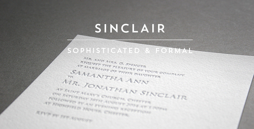 Sinclair letterpress wedding stationery