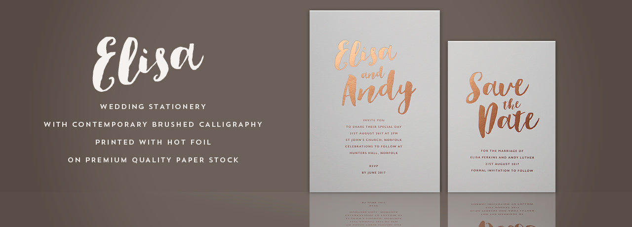 Elisa hot foil wedding stationery