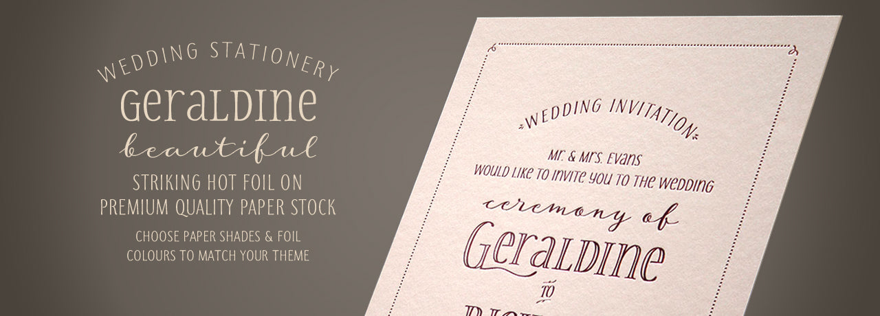 Geraldine personalised hot foil wedding stationery