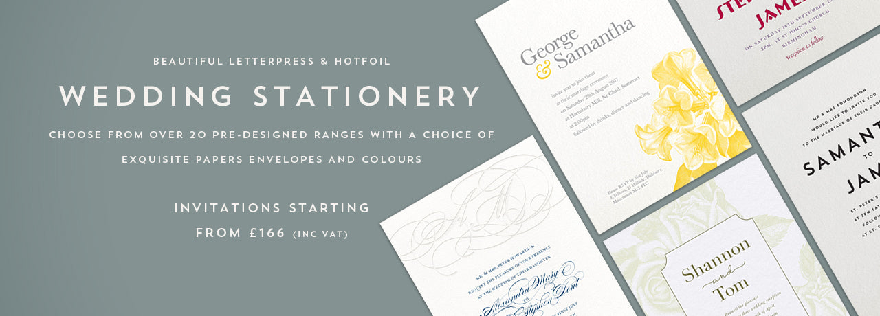 Letterpress and hot foil wedding stationery designed and printed in the UK