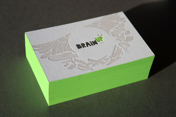 Brain Up edge painted letterpress business card