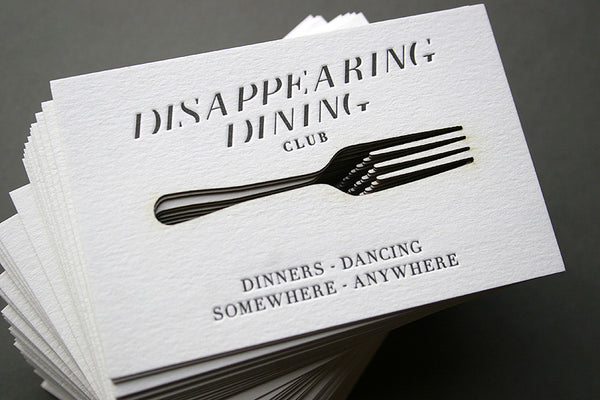 Disappearing Dining Club letterpress and laser cut business cards