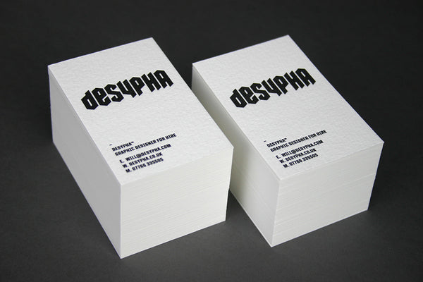 Desypha letterpress business card on cotton paper