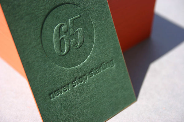 First 65 letterpress business card