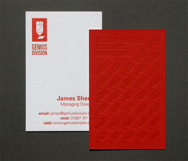 Genius Division letterpress business cards on Colorplan Duplex