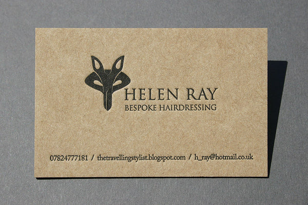 Helen Ray business card on recycled paper