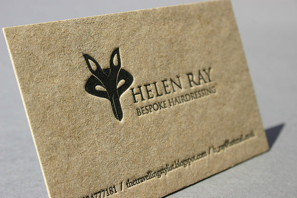 Helen ray letterpress business cards on recycled paper blush helen ray business card on recycled paper reheart Choice Image