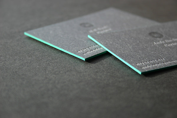 Ubiquitous letterpress business card with edge painting