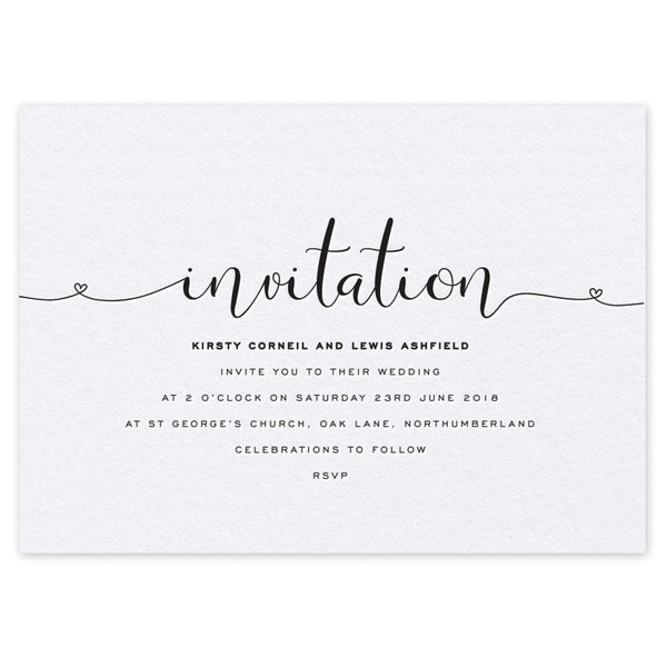 Ashfield letterpress wedding invitation