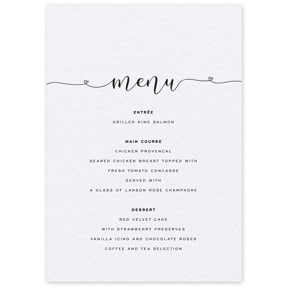 Ashfield letterpress printed menu