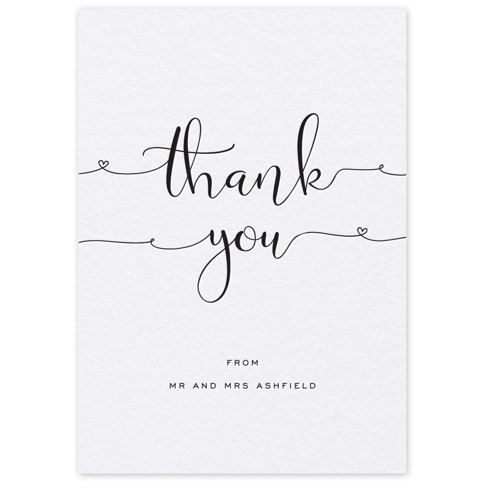 Ashfield letterpress printed thank you card