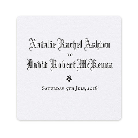 Ashton letterpress wedding coaster