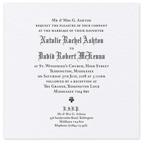 Ashton Day Invitation - letterpress wedding stationery