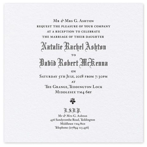 Ashton Evening Invitation - letterpress wedding stationery