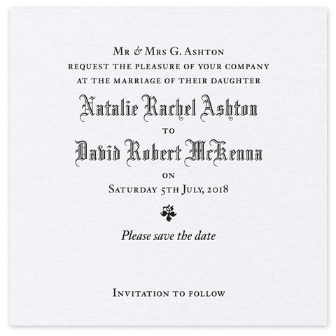 Ashton Save the Date - Letterpress wedding stationery
