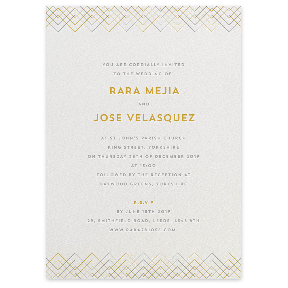 Baywood letterpress wedding invitation