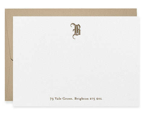 Blackletter monogram letterpress correspondence cards